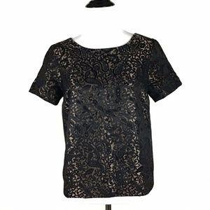 Adrienne Vittadini Lace Overlay Black Gold Blouse2